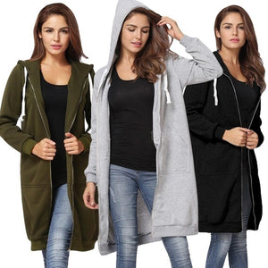 Women Long Hooded Sweatshirts Coat Casual Pockets Zipper Solid Cardigan