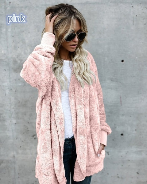 Winter Faux Fur Teddy Bear Coat Jacket Women Fashion Open Stitch Hooded Coat Female Long Sleeve Fuzzy Jacket