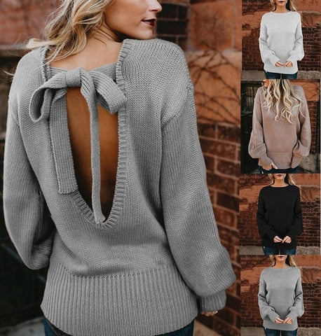 Women Sexy Knitted Backless Bowknot Sweater Top