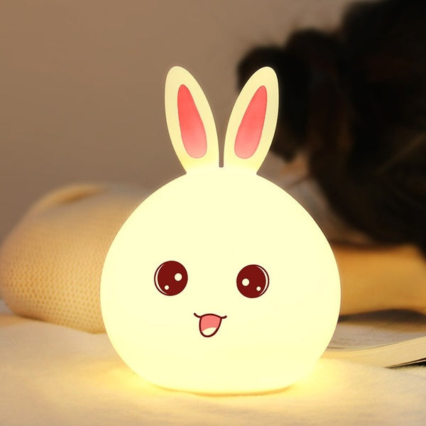 Silicone LED Night Light, Cute Bunny Rabbit Baby Nursery Lamp, Tap Control 7-Color Breathing Light for Children, USB Rechargeable