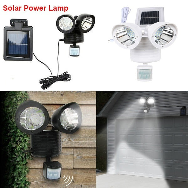 Energy Saving Solar Powered LED Motion Sensor Spot Night Lights Double Lamp for Pathway Garden Outdoor
