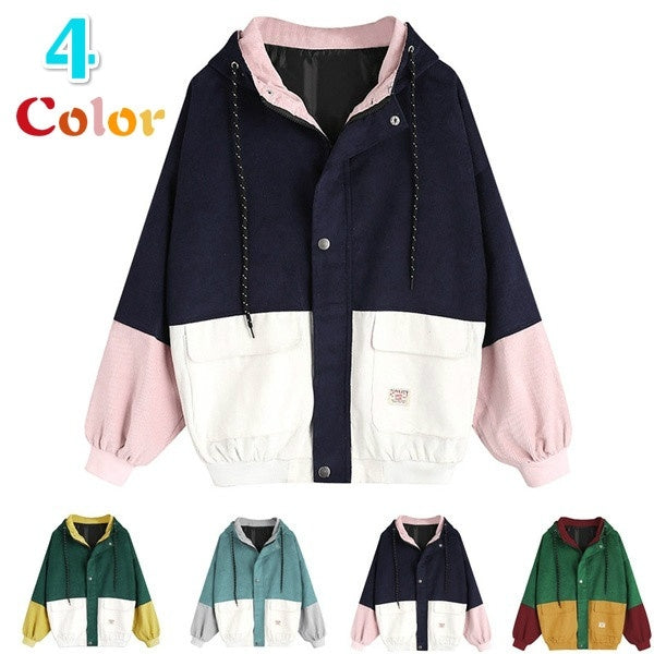 Men & Women Long Sleeve Corduroy Patchwork Oversize Jacket Windbreaker Coat Overcoat(4 Color)