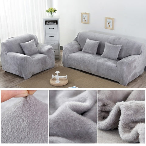 1/2/3 Seater Warm Winter Plush Sofa Slipcover Stretch Elastic Protector Couch Cover Washable