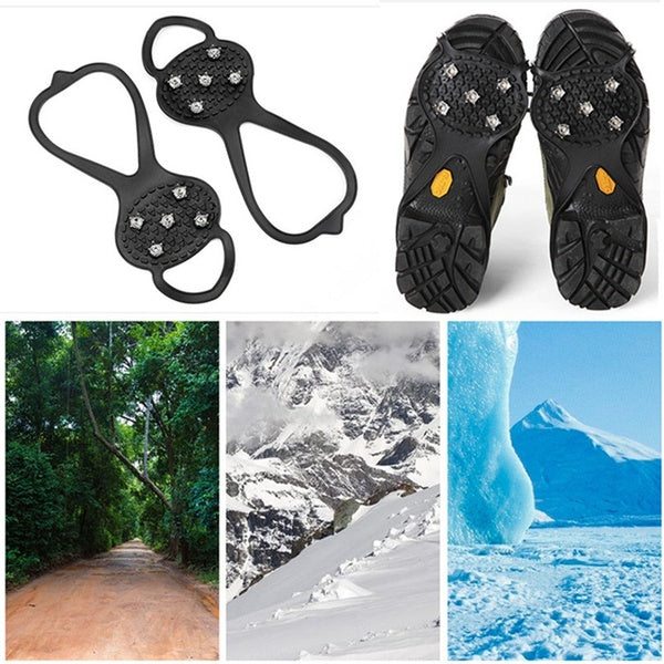 5-Stud Ice Cleats Snow Grips Anti Slip Walk Traction Shoes Chains Crampons