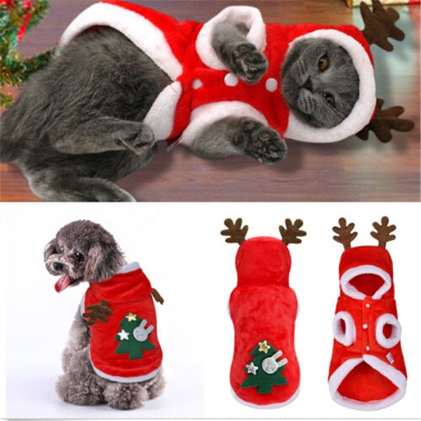 Winter Casual Christmas Pet Clothes Soft Warm Hoodie Coat Jacket Clothing For Dog Cat