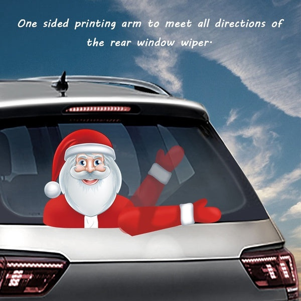 Cute Santa Claus Christmas Wiper Stickers Waving Windshield Wiper Decal