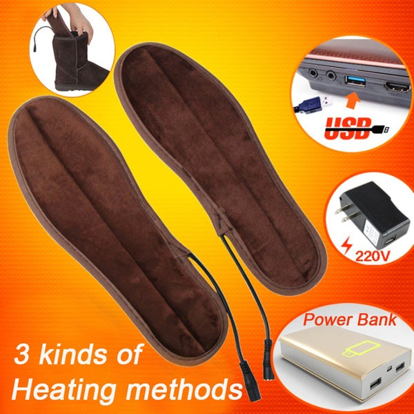 1 Pair USB Electric Heated Shoe Insoles Feet Warmer Sock Pad Mat with Cable for Winter(5 Sizes)