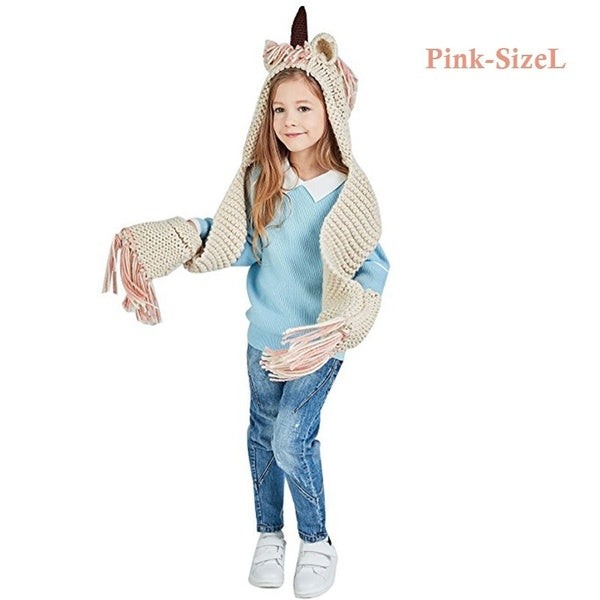 US Adult Kid Unicorn Hooded Scarf Animal Hoodie Cowl Crochet Knitted Beanie Hat