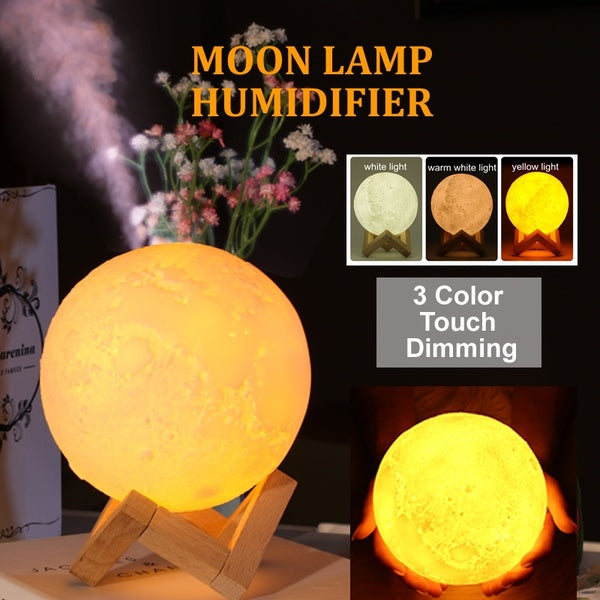 880ML BIG CAPACITY Moon Lamp Humidifier USB Night Light Touch Dimming Humidifier with Wood Stand