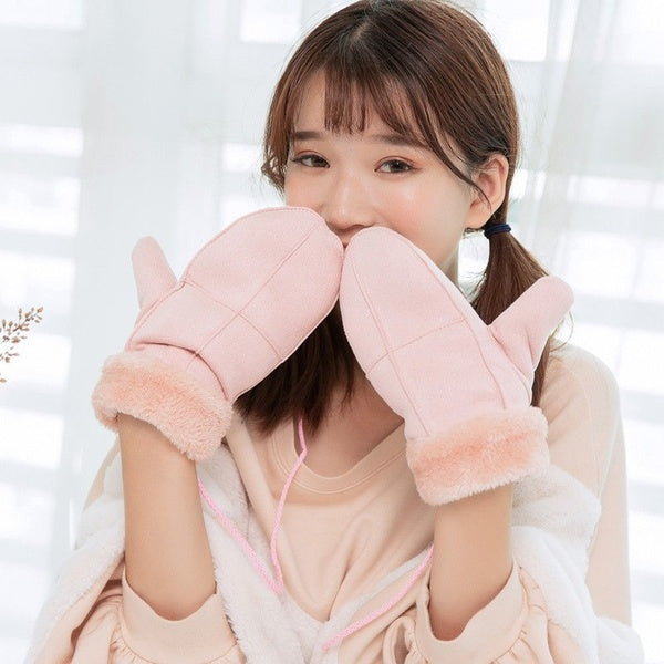 Women Winter Thick Faux Wool Gloves