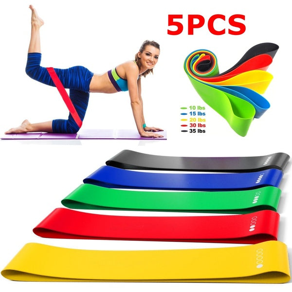 5PCS Fitness Resistance Bands Yoga Rubber Loop Sport Training Equipment