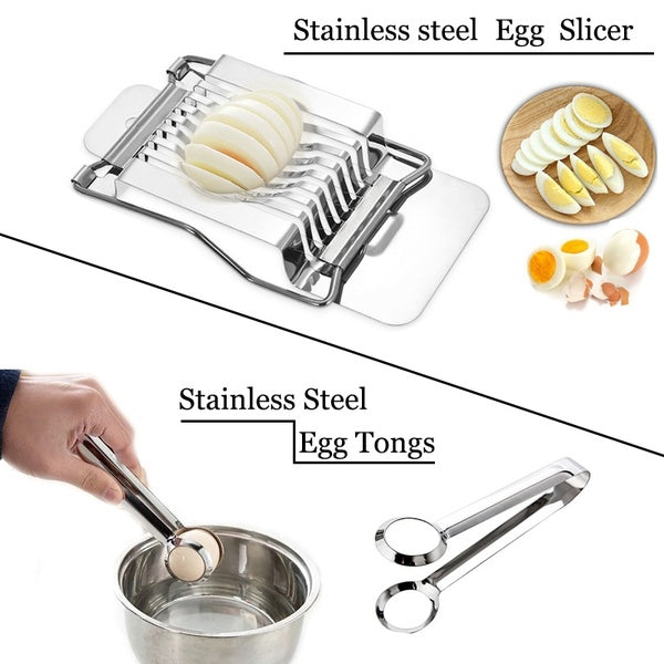 Stainless Steel Wire Egg Slicer Hard Boiled Egg Tongs Manual Metal Thin Egg Cutter