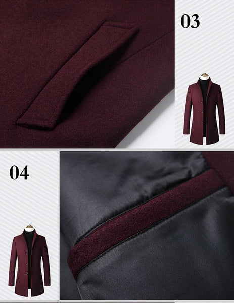 Spring&Autumn Jackets for Men Business Casual Jackets Middle Length Fleece Fabric Windproof Jackets