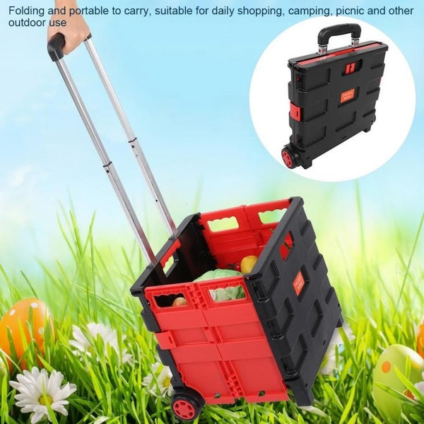 Multi-Use Foldable Shopping Grocery Cart Travel Portable Food Basket For Camping Picnic