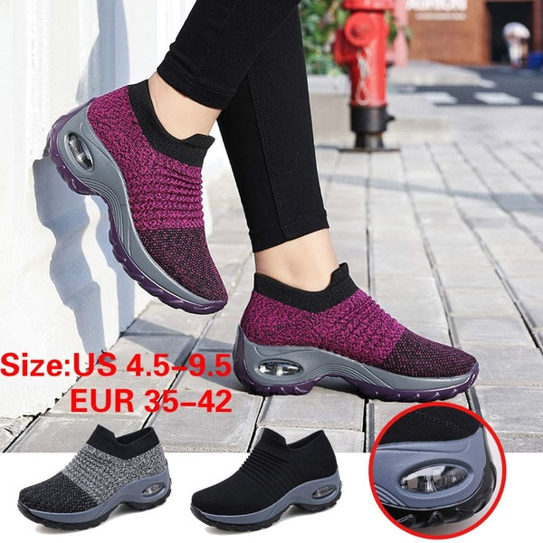 Women Breathable Sport Shoes Casual Sneakers Comfortable Flying Weaving Running Shoes