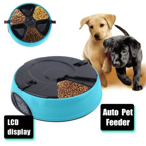 Automatic 6 Day Meal Pet Feeder Dog Food Bowl Cats Plastic Meal Dispenser
