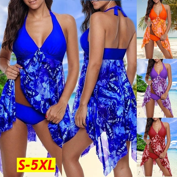 Summer Women's Print Bikini Two Piece Halter Asymmetric Hem Swimdress