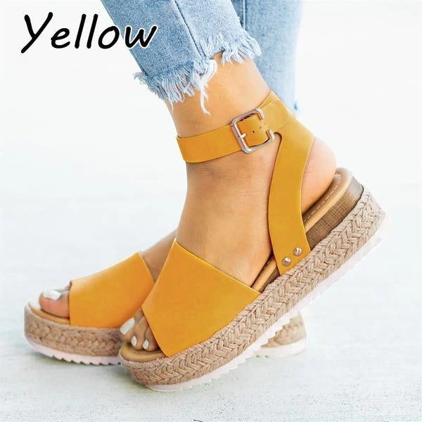 Ladies Linen Woven Thick-soled Fish Mouth Sandals Women Platform Wedge Buckle Ankle Strap Open Toe Sandals Plus Size