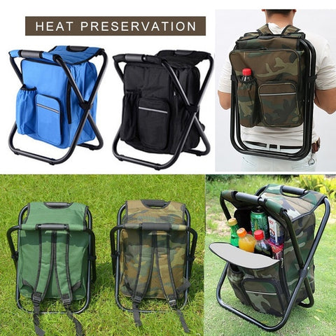 Folding Camping Fishing Chair Stool Backpack with Cooler Insulated Picnic Bag Hiking Camouflage Seat Table Bag
