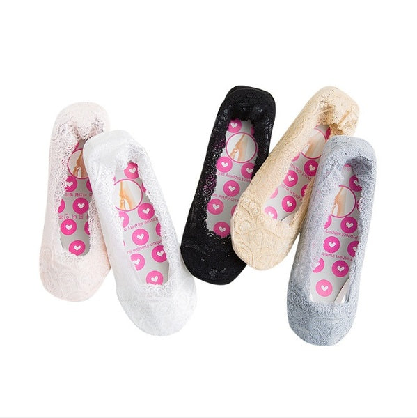 5 Pairs Womens Cotton Lace Socks Sexy Antiskid Invisible Liner Socks