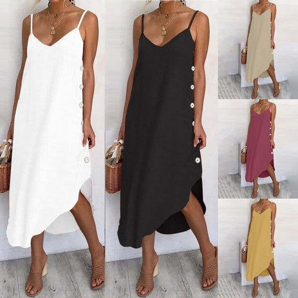 Women Summer Long Dress Spaghetti Strap V Neck Irregular Hem Casual Dress