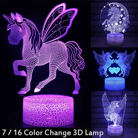 3D LED Night Light Unicorn-series 7 / 16 Color Change LED Table Desk Lamp