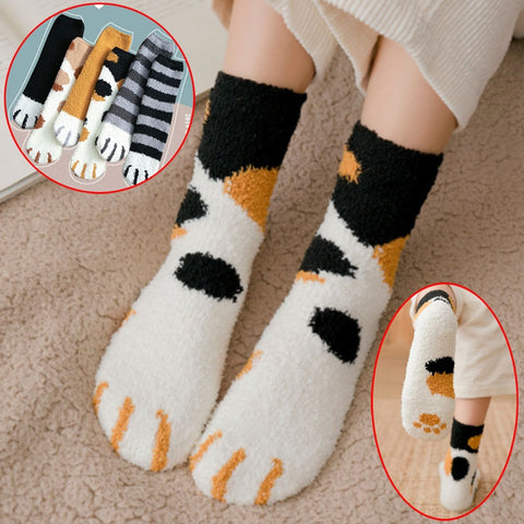 Women Warm Cat Claw Pattern Sleeping Socks