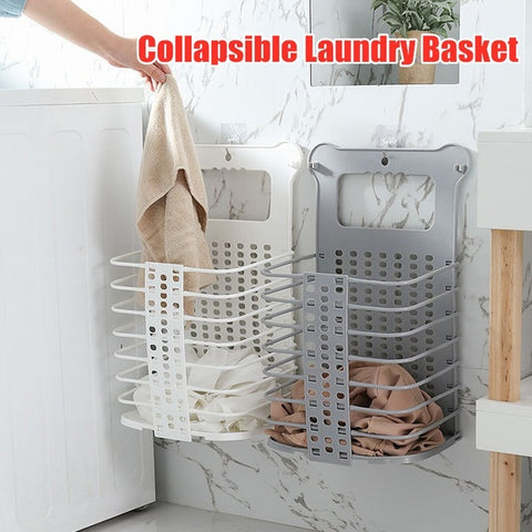 Bathroom Collapsible Laundry Basket Hanging Dirty Clothes Storage Hamper Organizer