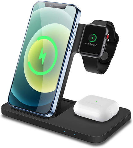 Wireless Charger 3 in 1 Qi  15W Fast Charging Station