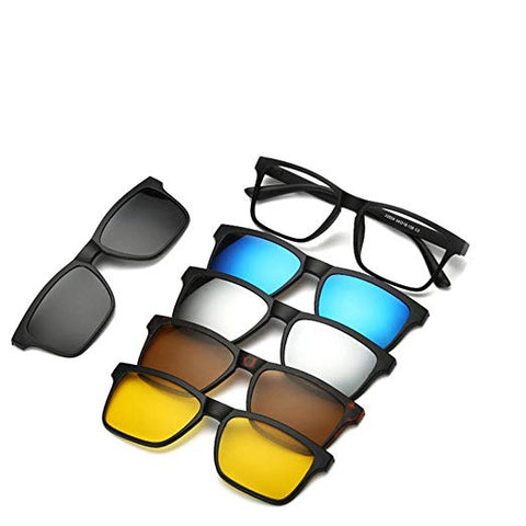5 in 1 Magnetic Lens Swappable Sunglasses Clip on Sunglasses Eyeglass
