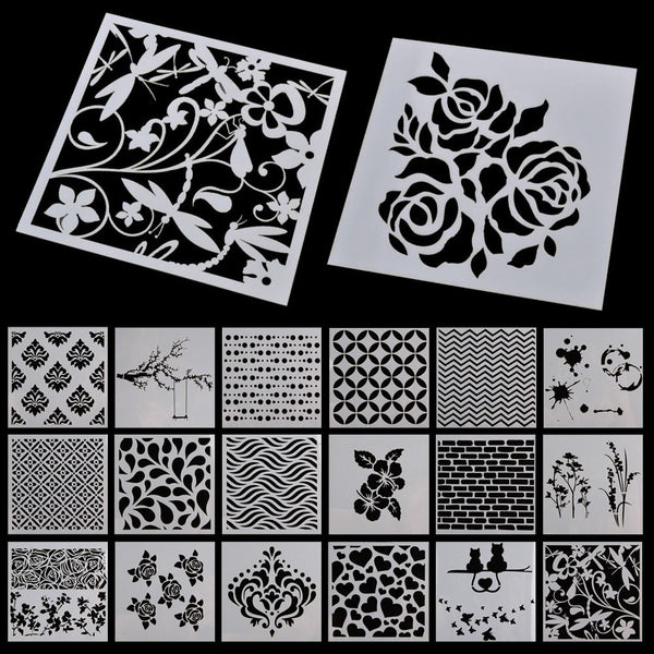 Wall Painting Grain Stencil Vintage Pattern Reusable Paint Stencil DIY Decor