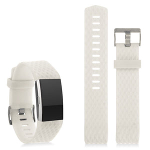 Replacement Silicone Band Classic Metal Buckle Strap Wristband for Fitbit Charge 2