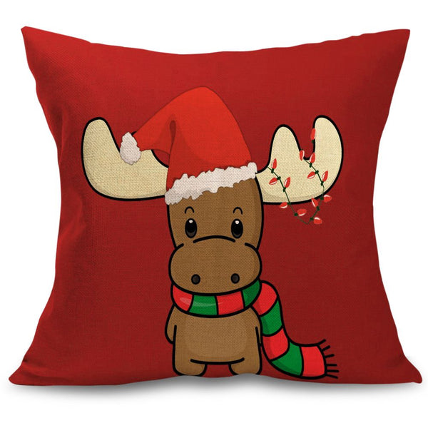 Christmas Xmas Tree Santa Deer Cotton Pillow Case Cushion Cover Home Decor Gift