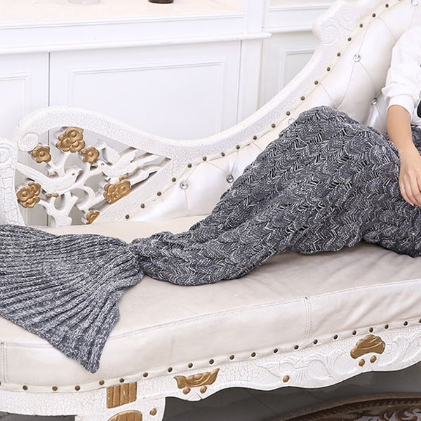 Adult Kids Mermaid Tail Sofa Blanket Super Warm Hand Crocheted Knitting