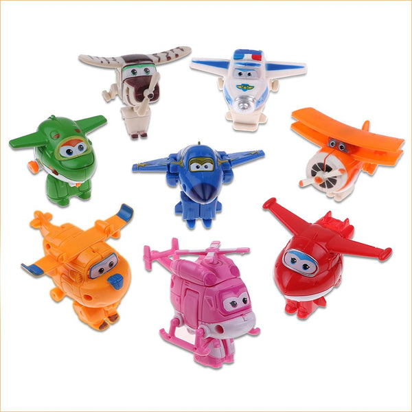8 Pcs Mini Super Wings Transformer Plane Toy HOGI ARI JEROME BJ Bong Daalji Mina