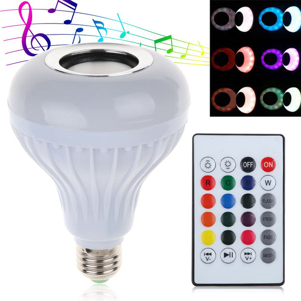 12W E27 LED RGB Wireless Bluetooth Speaker Bulb Light Music Playing Lamp +Remote