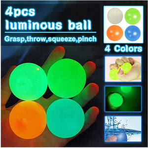 4pcs/SET Squash Decompression Toy Ball Ceiling Sticky Glowing Ball Relieves Pressure