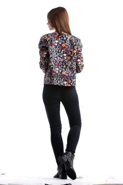 Press Button Placket Botanical Jacket Autumn Jacket for Women Multicolor Collarless Single Breasted Elegant Jacket