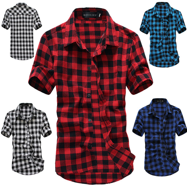 Men Plaid Print T-Shirt Short Sleeve Turn-down Collar Tee Top Shirts Casual Slim Fit Tee Tops
