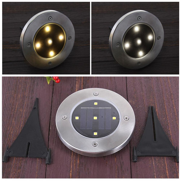 5 LED Solar Power Buried Light Ground Lamp Outdoor Path Way Garden Decking