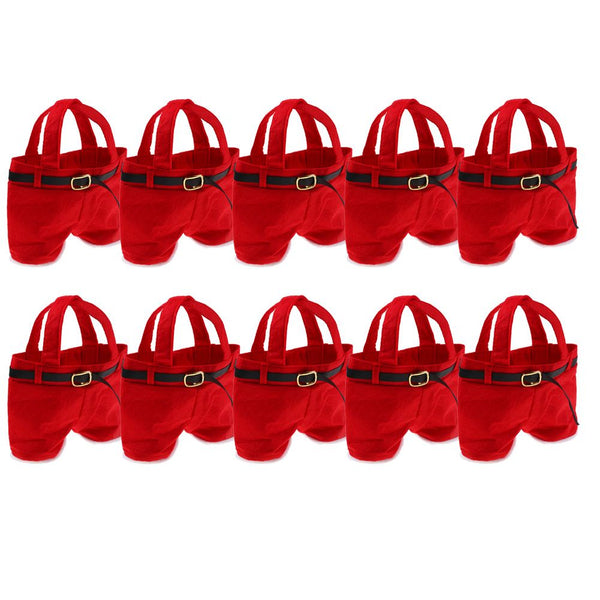 10PCS Christmas Xmas Party Red Gift Candy Bag Santa Claus Pants Filler Trousers
