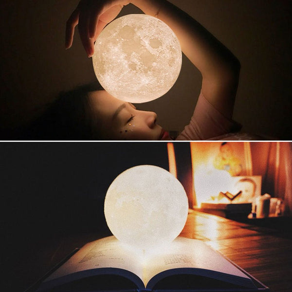 3D Moon Lamp USB LED Night Light Moonlight Gift Touch Sensor Color Changing