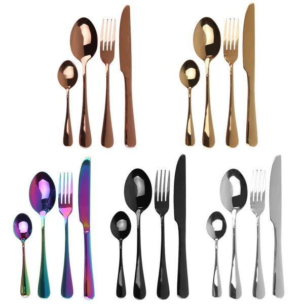4Pcs/Set High-Grade Iridescent Stainless Steel Cutlery Unique Amazing Colour