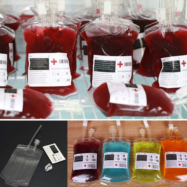 Reusable 300ML IV Blood Bag Halloween Party Haunted House Drink Container Decor