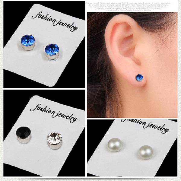 4PC NO EAR HOLE CRYSTAL czech stone Strong MAGNETIC Iron MAGNET Stud Earring