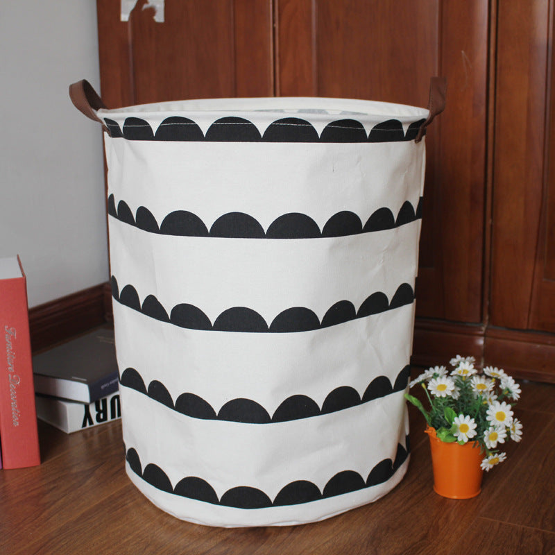 Collapsible Pattern Hanging Bag Canvas Toy Storage Bin Laundry Baskets