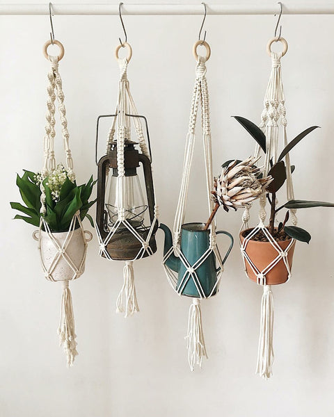 New Presin Macrame Plant Hook Hanging Planter Basket Jute Braided Rope Craft