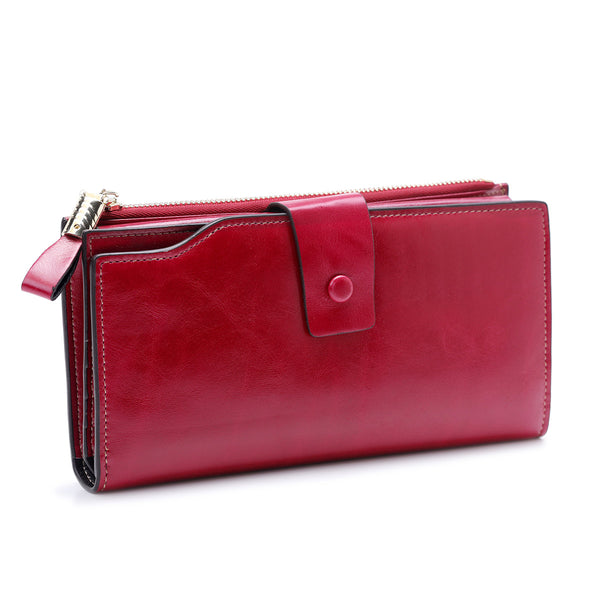 High Quality Oil Wax Leather RFID Wallet Women Hasp Zipper Walets Genuine Leather Female Purse