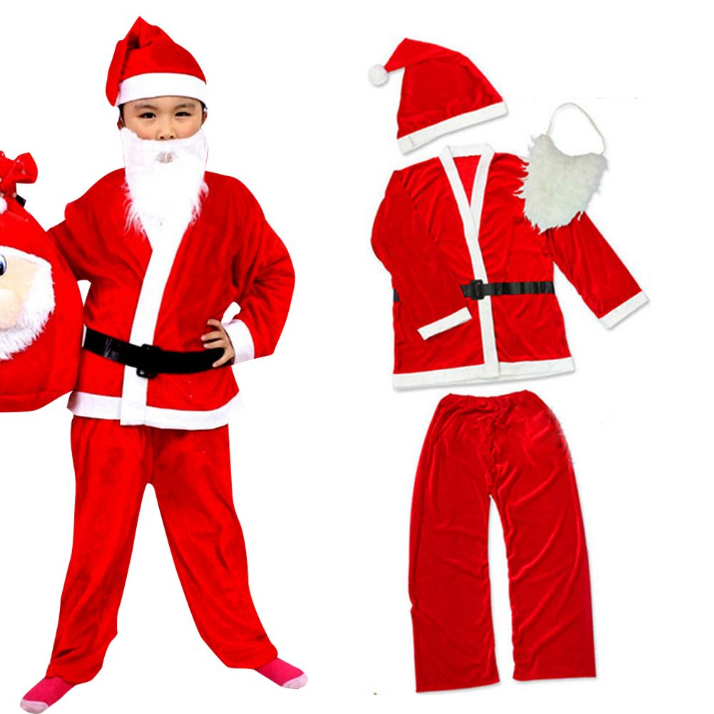 1b7570fab88 Kids Father Christmas Santa Claus Suit Costume Boys Child Girls Xmas Dress