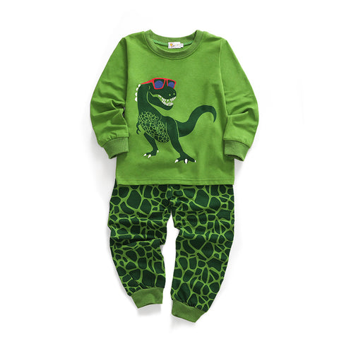 Boy Dinasour Print Green Pajamas Set
